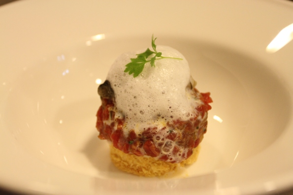 Wagyu Tartare and Sawmill Bay Oyster